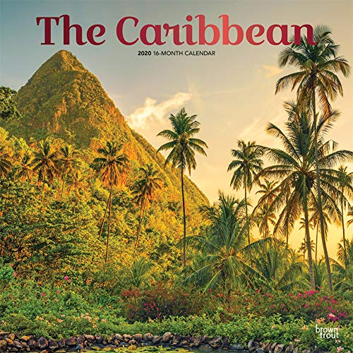 The Caribbean 2020 12 x 12 Inch Monthly Square Wall Calendar with Foil Stamped Cover, Travel Nature Tropical Beach
