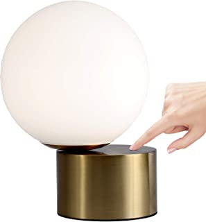 DIYAN Touch Control Table Lamp Bedside Minimalist Desk Lamp Creative Gold LED Table Lamp for Bedroom Living Room Children's Room,White Glass Ball and Touch Control Base,G9 Bulb Included (Large_7.87in)
