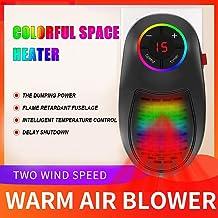 Calefactor Baño Pared Bajo Consumo LED Colorido Portátil Calefactor Eléctrico de Aire Caliente con Control Remoto para Hogar y Baño