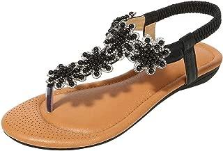 〓COOlCCI〓Womens Summer Flat Sandals Bohemian Glitter Flip Flops T-Strap Thong Shoes