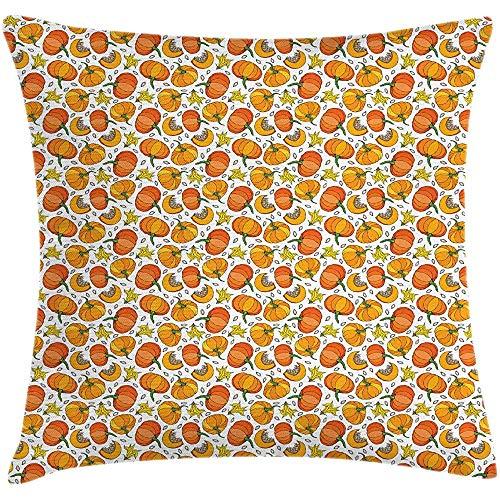 SSHELEY Oranje en Geel Kussen Cover, Herhalende Cartoonish Pompoenen met Bloemblaadjes en Zaden Print, Vierkante Kussen Case Goudsbloem en