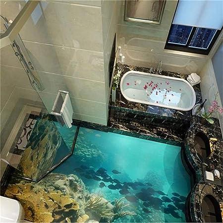 3d Bodenbelag Benutzerdefinierte Fototapete Sea World Wirklich 3d Boden Tapete Badezimmer Selbstklebende Pvc Wasserdichte Tapete 150 105 Cm Amazon De Baumarkt