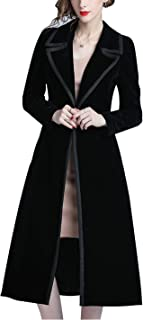 Women's Double Breasted Lapel Midi Long Vintage Velvet Trench Coat