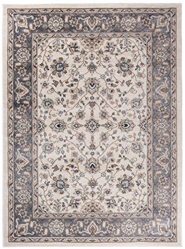 We Love Rugs - Carpeto Traditioneller Klassischer Teppich für Ihre Wohnzimmer - Creme Grau - Perser Orientalisches Keshan Nein Ziegler Muster - Top Qualität Pflegeleicht AYLA 60 x 100 cm Klein