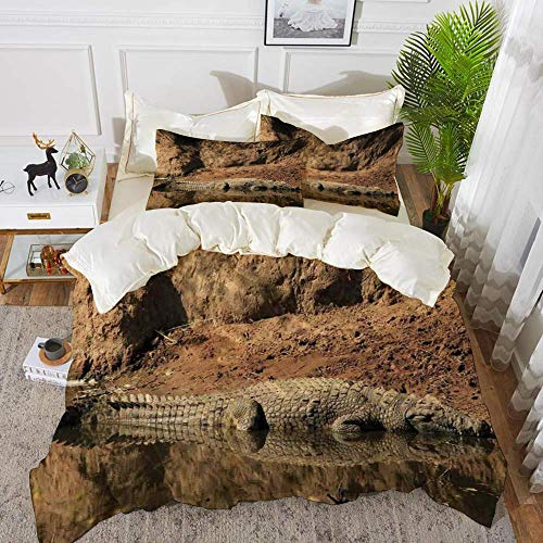 Qoqon bedding - Duvet Cover Set,Wildlife Decor,Nile Crocodile Swimming in the River Rock Cliffs Tanzania Hunter Geograp,Hypoallergenic Microfibre Duvet Cover Set with 2 Pillowcase 50 X 75cm
