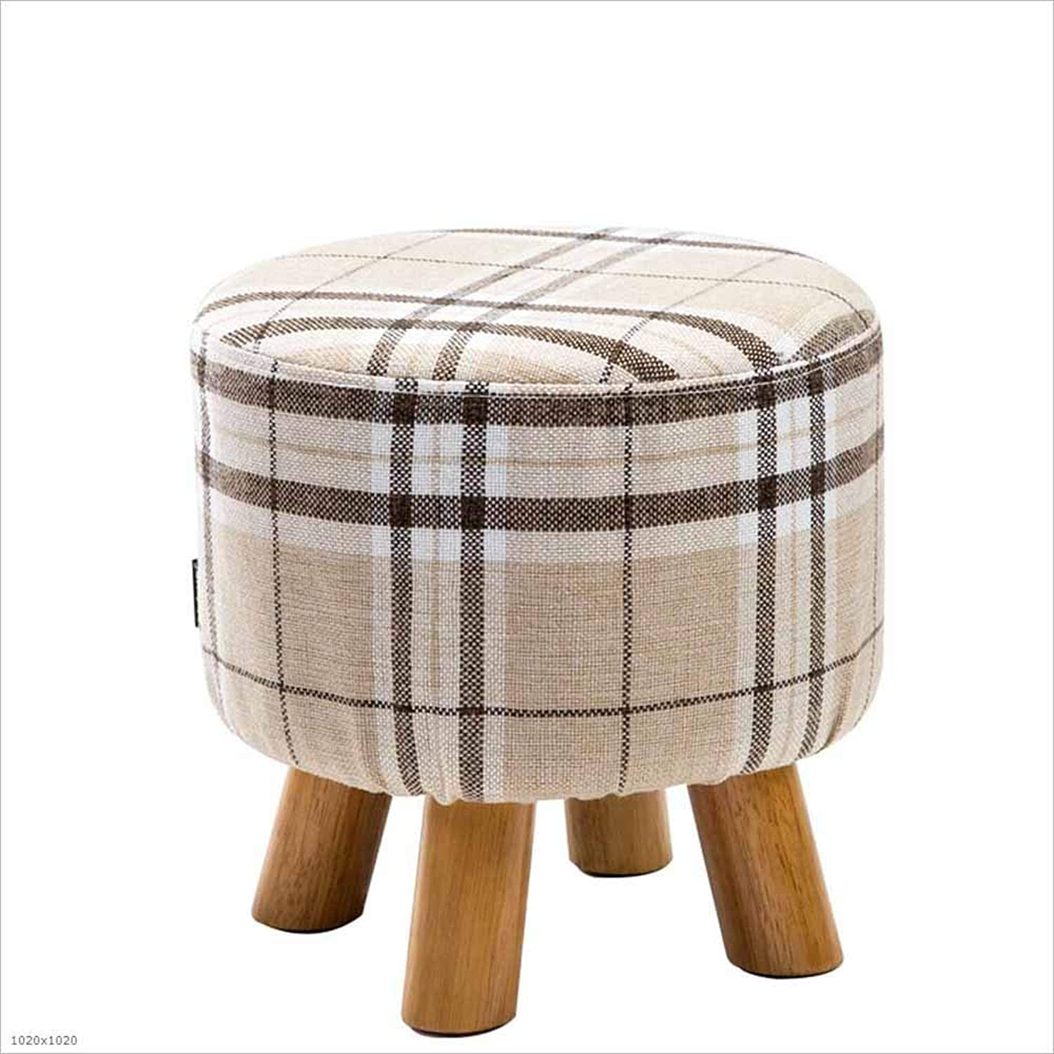 Solid Wood Footstool Detachable Chair Cover Change shoes Bench Sofa Stool Stool 4 Foot Support, 1,Small
