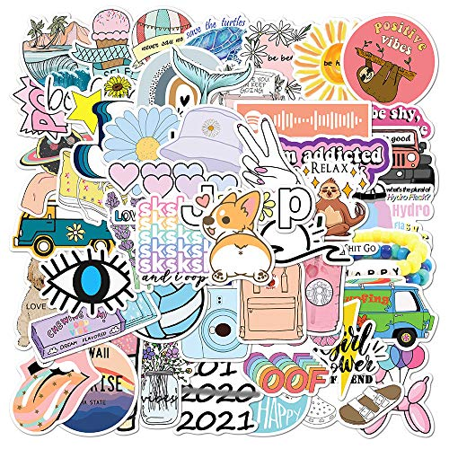 Homo Trends 50Pcs Cute Stickers, Laptop Stickers Aesthetic Trendy Stickers Vinyl Waterproof Kawaii Stickers Notebook, Water Bottles, Skateboard, Luggage for Girls, Teens