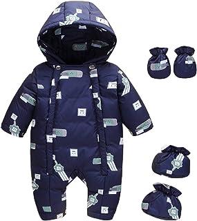LPATTERN Baby & Kleinkind Jungen/Mädchen Winter Schneeanzug Daunenanzug Daunen Overall Jumpsuit Einteiler Outfit BekleidungssetStramplerHandschuheFüßlinge mit Kapuze