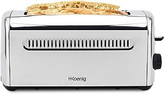 H.Koenig TOS32 Grille Pain Toaster Spécial Baguette 2 Tranches Fentes larges 40mm Inox vintage, 7 Niveaux de brunissage, D...