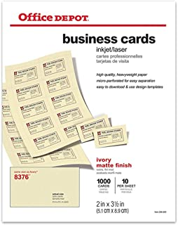 Office Depot Matte Business Cards, 2in. x 3 1/2in, Ivory, Pack of 1,000, 23004