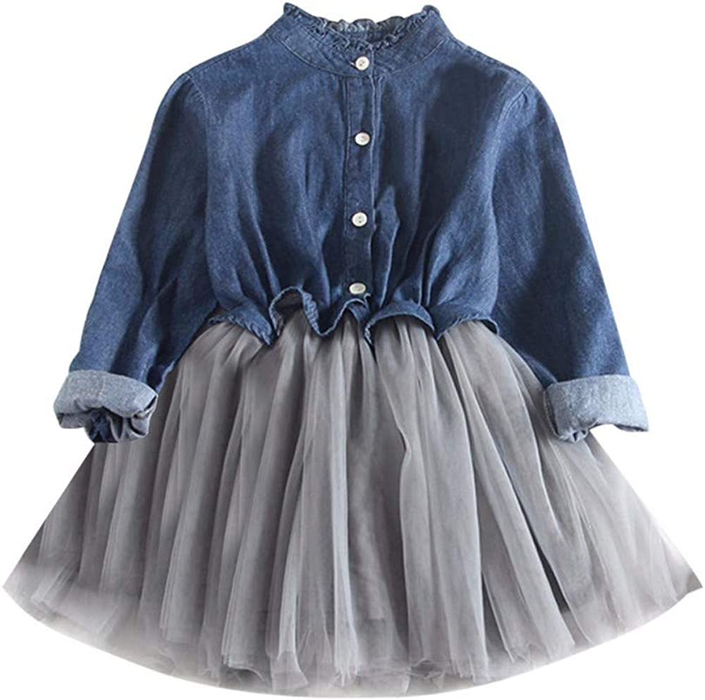 Bcaur Toddler Baby Girls Denim Dress Long Sleeve Princess Tutu Dress