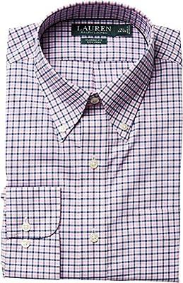 LAUREN Ralph Lauren Mens Classic Fit Poplin Plaid Button Down Collar Dress Shirt