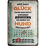 Nostalgic-Art 22270, PfotenSchild-Glück anfassen, Kalender-Blechschild 20x30 cm, Metall, Bunt, 20 x...