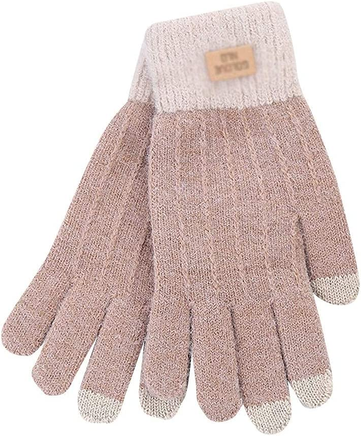 GHCXY Gloves,Women's Winter Outdoor Knitting Windproof Touchscreen Men Women Plus Thicken,C