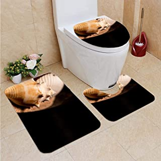 3 Sets of Bathroom Home, Bathroom Carpet + Contour pad + lid Toilet seat,Concha Sea Shell, Flannel Carpet