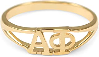 The Collegiate Standard Alpha Phi 14k Gold Plated Sorority Ring with Greek Letters