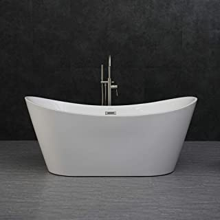 WOODBRIDGE B-0010 Modern Bathroom Glossy Acrylic Free Standing Bathtub/White, 67