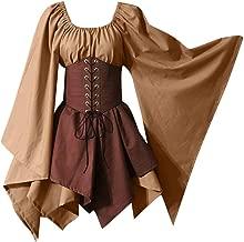 LOKODO Halloween Women Medieval Cosplay Costumes Gothic Retro Long Sleeve Corset Dress Witch Costume