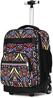 ZTHUAYUAN Women's Mini Backpack Trolley Backpack, Multifunction Nylon Waterproof Wheeled Rolling Rucksack for Boys and Girls School Student Books Laptop Travel Trolley Bag Daypack (Color : 4)