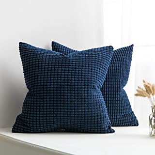 MIULEE Pack of 2 Decorative Throw Pillow Covers Soft Corduroy Solid Cushion Case Dark Blue Pillow Cases for Couch Sofa Bedroom Car 20 x 20 Inch 50 x 50 cm