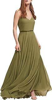 MARSEN Spaghetti Strap Bridesmaid Dresses V-Neck Chiffon Beach Wedding Long Prom Gowns for Women