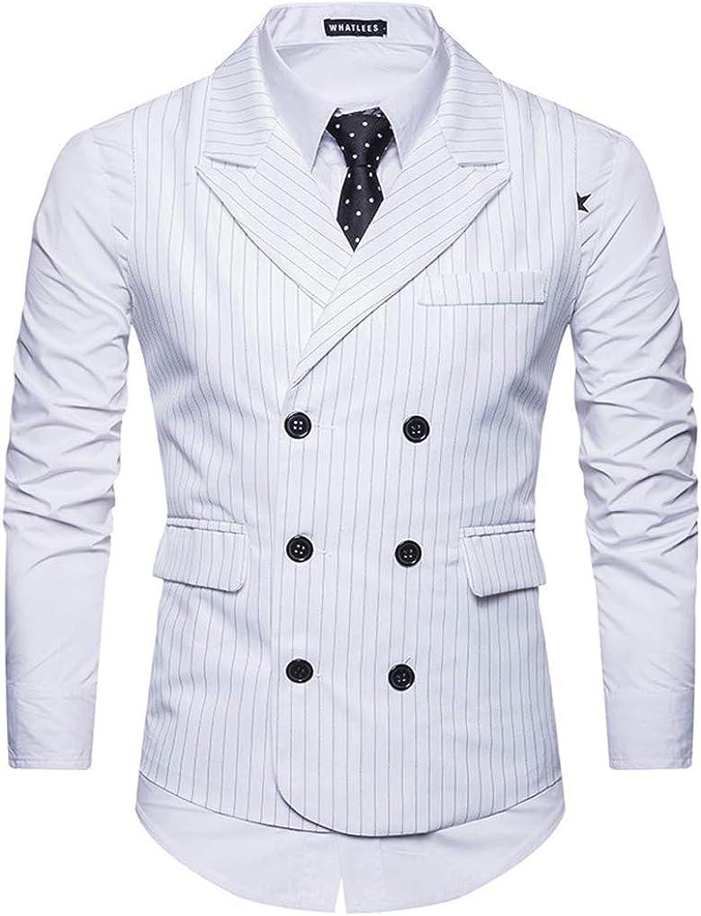 Qinni-shop Men Striped Double Breasted Business Slim Fit Suit Vest Formal Dress Vest Waistcoat