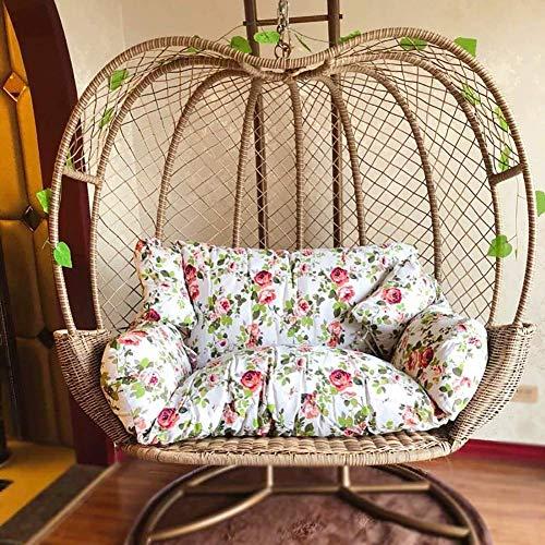 BBZZ Cojines colgantes para silla de huevo, doble columpio grueso, almohadillas para silla mecedora extraíbles para interiores y exteriores, patio, patio trasero, 110 x 150 cm