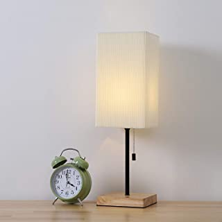 Bedside Nightstand Table Lamp Wooden Desk Lamp with Square Fabric Lampshade for Bedroom Living Room Study College Dorm Dressers Coffee Table, White