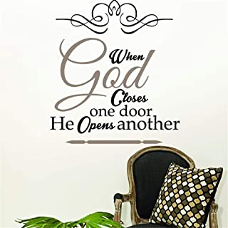 Lisair Lettering Words Wall Mural DIY Removable Sticker Decoration When God Closes one Door he Opens Another Bible Verse Christian