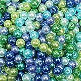 TOAOB 500 Pezzi Perle Finte Vetro Rotonde 8 mm Blu e Verde Perline per Creazione Gioielli Fai Da Te Artigianato Decorazione