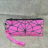 Baobao laser portatile piegante Cosmetic Bag Varietà di trucco geometrica Rhombic viaggio Pochette Storage Bag (Nero) (Colore : Rose Red)