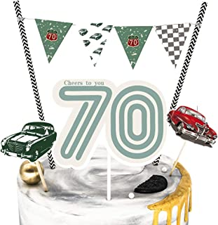 70th birthday supplies for cake topper - cupcake toppers,Cake Decorations, Classic car theme party supplies for men. Set of 4