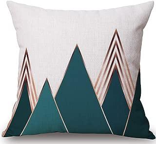 BLUETTEK Modern Geometric Linen Burlap Throw Pillow Case Covers, 18 x 18 Inches Cushion Covers, (Green Mountain)