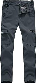 TBMPOY Women's Hiking Cargo Pants Outdoor Waterproof Windproof Softshell Fleece Snow Pants