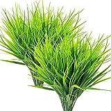 Liseng 8 unidades de plantas artificiales al aire libre, arbustos de plástico verde, hierba de trigo al aire libre, jardín, oficina, boda, decoración