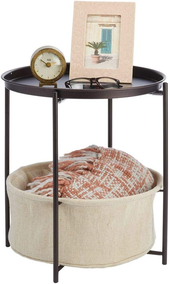 mDesign Round Side End Table Storage Nightstand - Furniture Unit for Living Room, Bedroom, Hallway, and Entryway - Sturdy Steel Frame, Water Hyacinth Woven Pull Out Basket Bin - Bronze