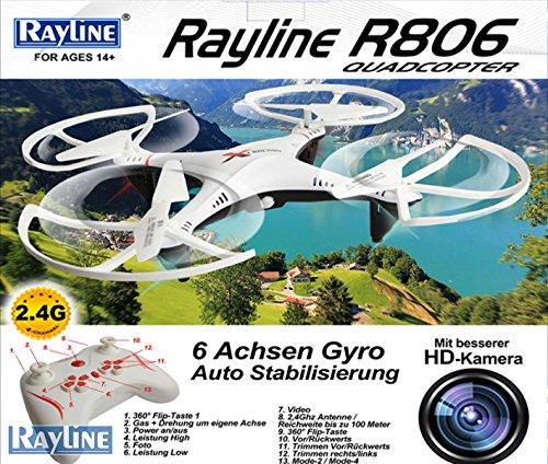 Rayline Drone Quadricottero RC R806 2,4 GHz 4 canali con Telecamera in HD Wi-Fi