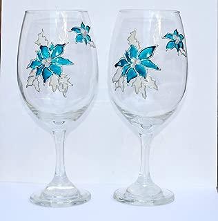 2 Blue Poinsettia Stemmed Hand Painted Wine Glasses Set