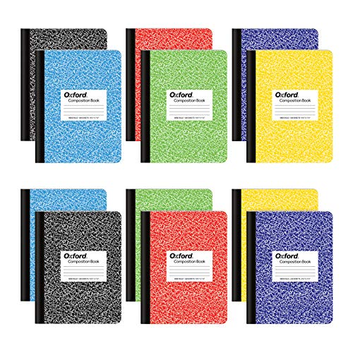 "Oxford Composition Notebooks, Wide Ruled Paper, 9-3/4"" x 7-1/2"", Assorted Marble Covers, 100 Sheets, 12 per Pack, Colors May Vary (63794)"
