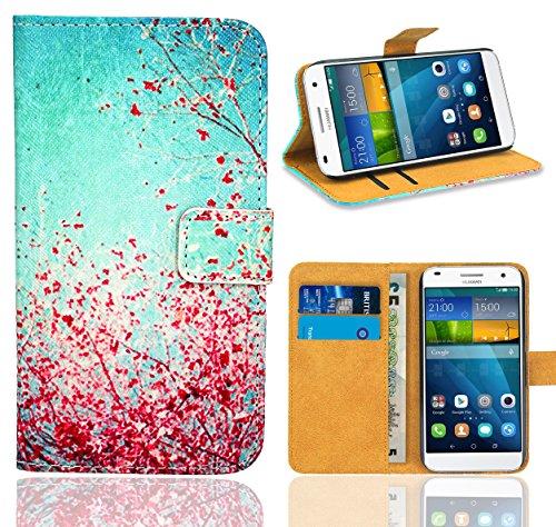 Huawei Ascend G7 Handy Tasche, FoneExpert® Wallet Hülle Flip Cover Hüllen Etui Ledertasche Lederhülle Premium Schutzhülle für Huawei Ascend G7 (Pattern 3)