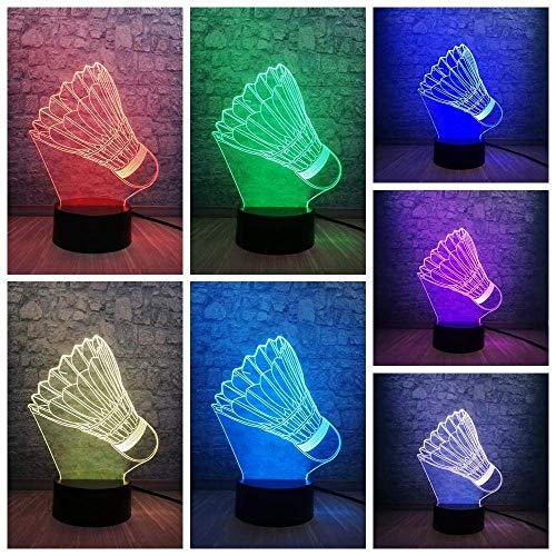 Lámpara de ilusión 3D Luz de noche LED Bádminton creativo Decoración deportiva Adolescente Aficionados al deporte Regalos Bombilla Decoración de dormitorio Dormitorio Dormir Mejor cumpleaños Rega