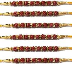 WhopperIndia Set of 6 Rakhi Thread for Brother for Raksha Bandhan Handmade Rakhee Rakshabandhan Bracelet with 8 Rudraksha in Center