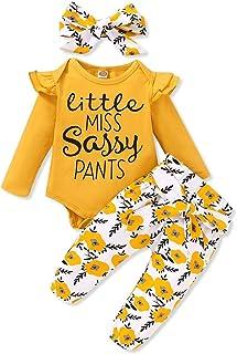 3 Pcs Vêtements Bébé Fille Ensemble 0-18 Mois Haut Blanc Lettre Imprimée + Pantalon à Fleurs + Bandeau Naissance Tenues Set