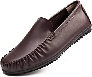 Harence Men's Comfortable Leather Slip on Loafers Casual Breathable Driving Flats Fashion Dress Shoes for Men