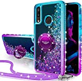 Silverback Galaxy A20 Case,Galaxy A30 Case, Moving Liquid Holographic Sparkle Glitter Case with Kickstand, Bling Bumper with Ring Stand Slim Samsung Galaxy A20 Case for Girls Women -Purple