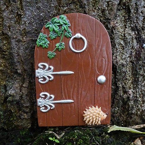 Lucy Locket Magische Fee Tür - Handbemalte Elfen Tür mit kleinem Igel - Wichteltür Braun