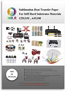 MR.R Sublimation Heat Transfer Paper for Stiff Hard Substrates Materials,125gsm,A4x100 Sheets per Pack