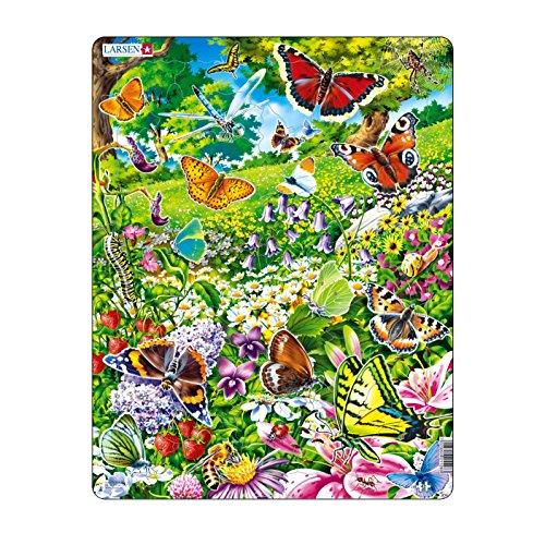 Larsen FH28 Rahmenpuzzle Schmetterlinge 42 Teile, bunt