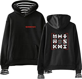 702156f902714 Monsta X Faux Deux pièces Sweats à Capuche Hoodies Sweat-Shirt décontracté  à Manches Longues
