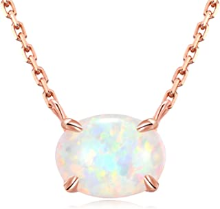 Ellena Rose Sterling Silver Opal Necklace, 925 Sterling Silver, Small Dainty Oval Opal Jewelry for Women, Gemstone Necklaces, Womens Jewelry, Simple Rose Gold Necklaces for Women